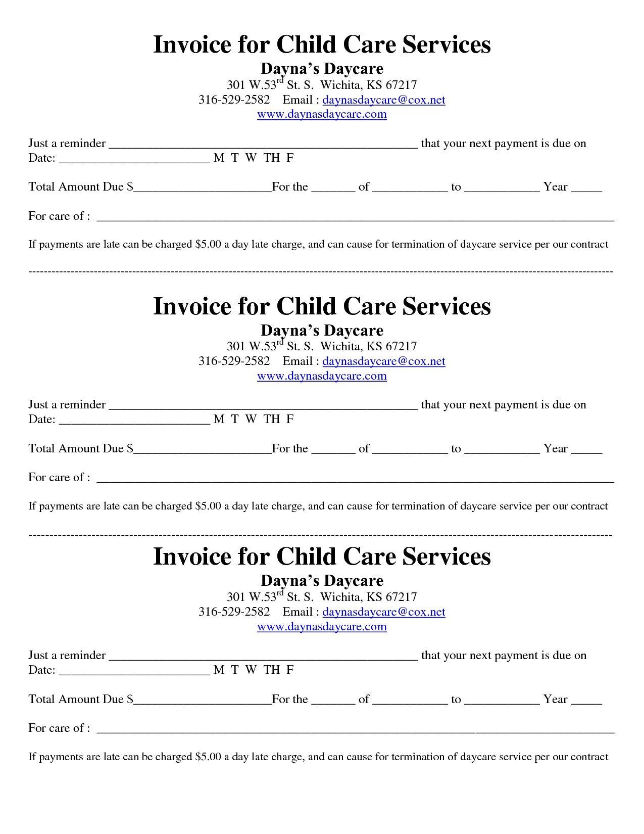 Child Care Receipt/invoice | Jordi Preschool - Free Printable Daycare Receipts