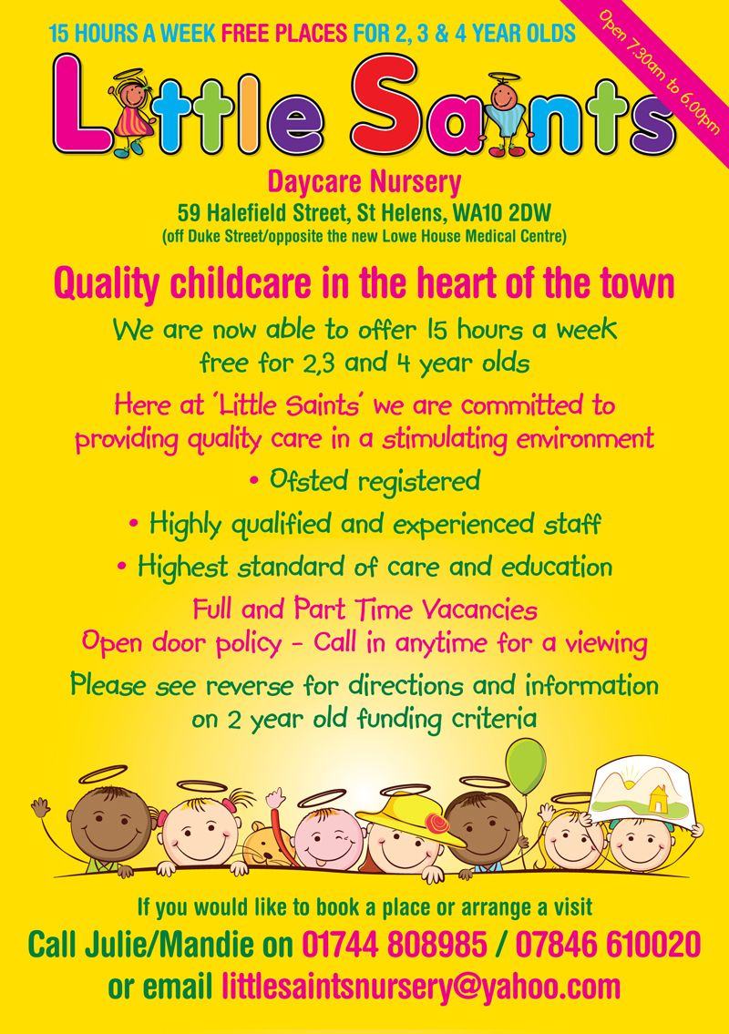 Childcare Leaflet Design For Little Saints Daycare Nurserywww - Free Printable Home Daycare Flyers
