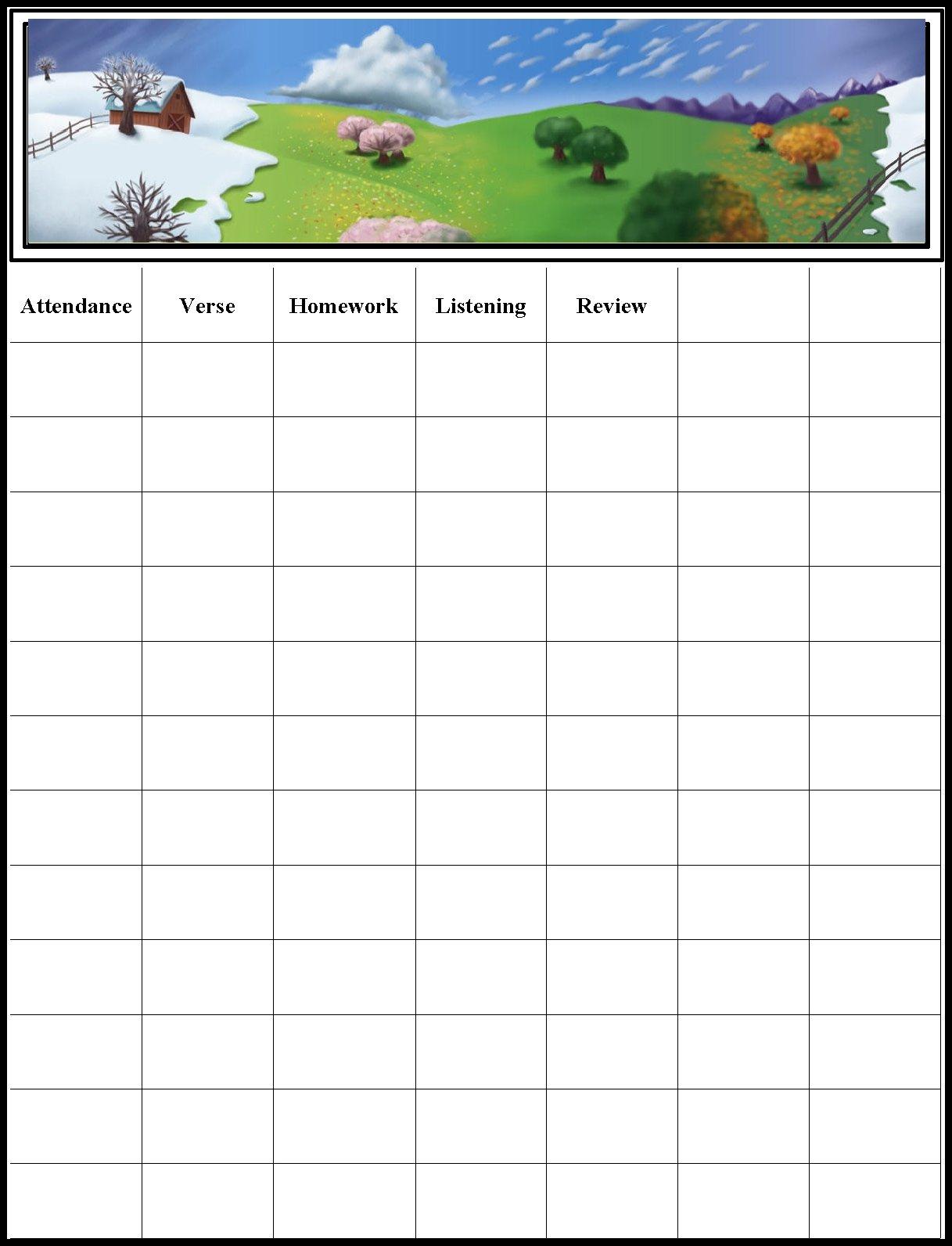 Children's Gems In My Treasure Box: Sunday School - Attendance Chart - Free Printable Sunday School Attendance Sheet