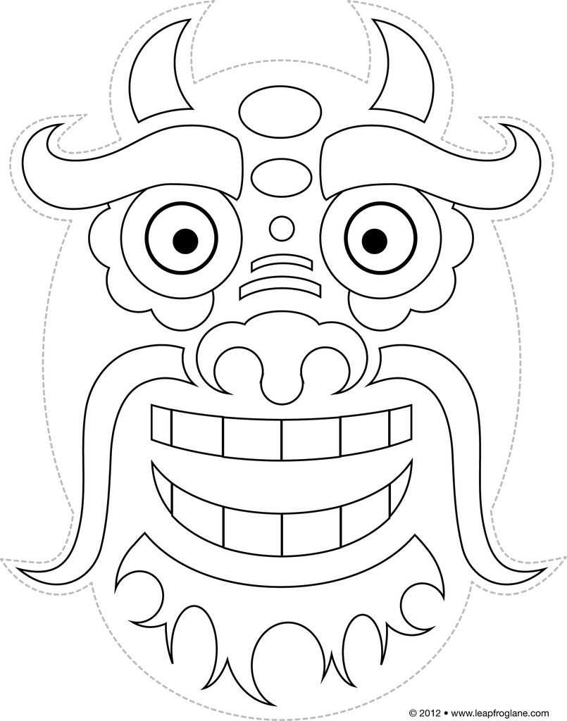 Chinese Dragon Mask Drawing Printable <B>Chinese Dragon Masks</b - Dragon Mask Printable Free