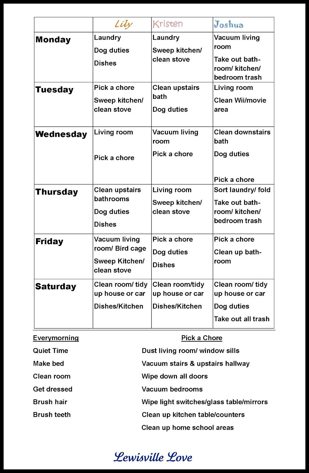 "Chore Charts For Teens |The Way, They Love The ""pick A Chore - Free Printable Chore List For Teenager"