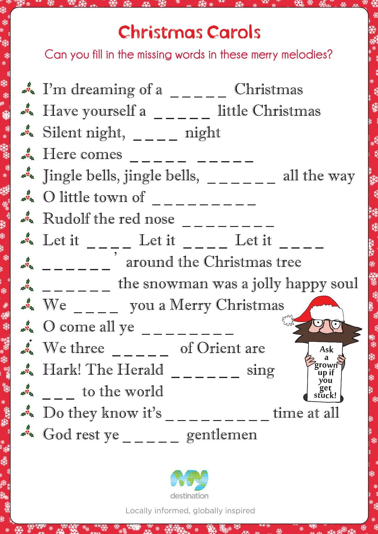 Christmas Carol Fill In The Blanks. Download This Puzzle For Free At - Christmas Song Lyrics Game Free Printable