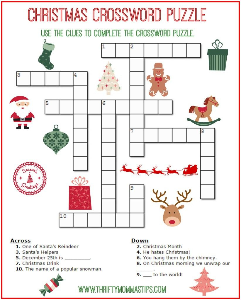 Christmas Crossword Puzzle Printable - Thrifty Momma's Tips   Free - Free Printable Christmas Puzzle Sheets