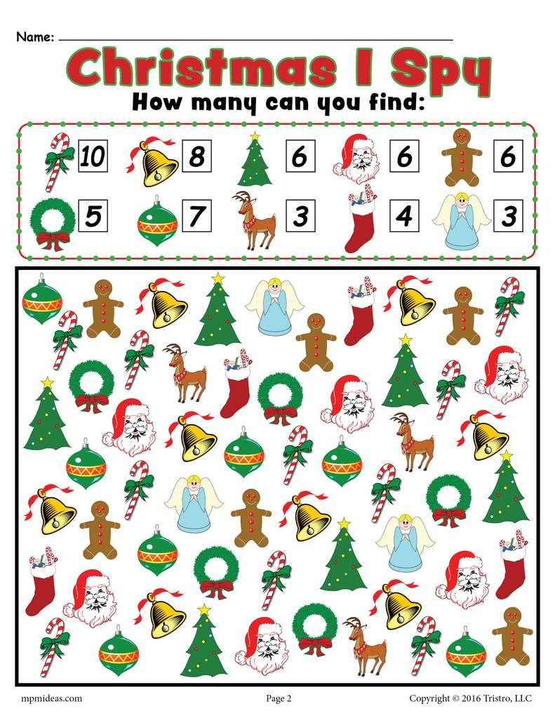 Christmas I Spy - Free Printable Christmas Counting Worksheet - Free Printable Christmas Board Games