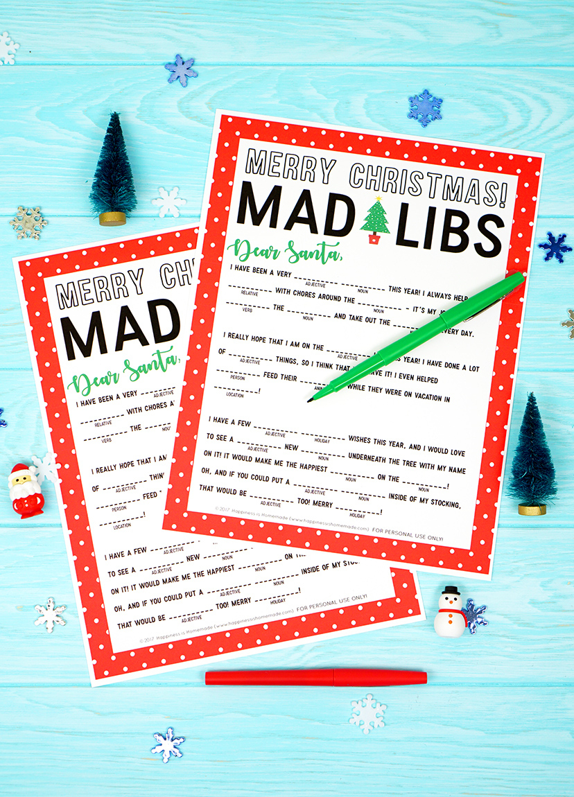 Christmas Mad Libs Printable - Happiness Is Homemade - Christmas Mad Libs Printable Free