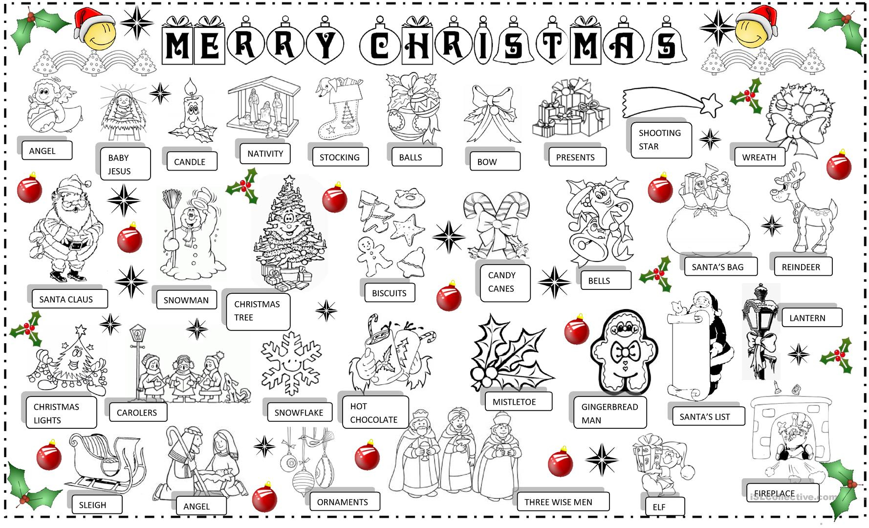Christmas Pictionary Worksheet - Free Esl Printable Worksheets Made - Free Printable Christmas Pictionary Words