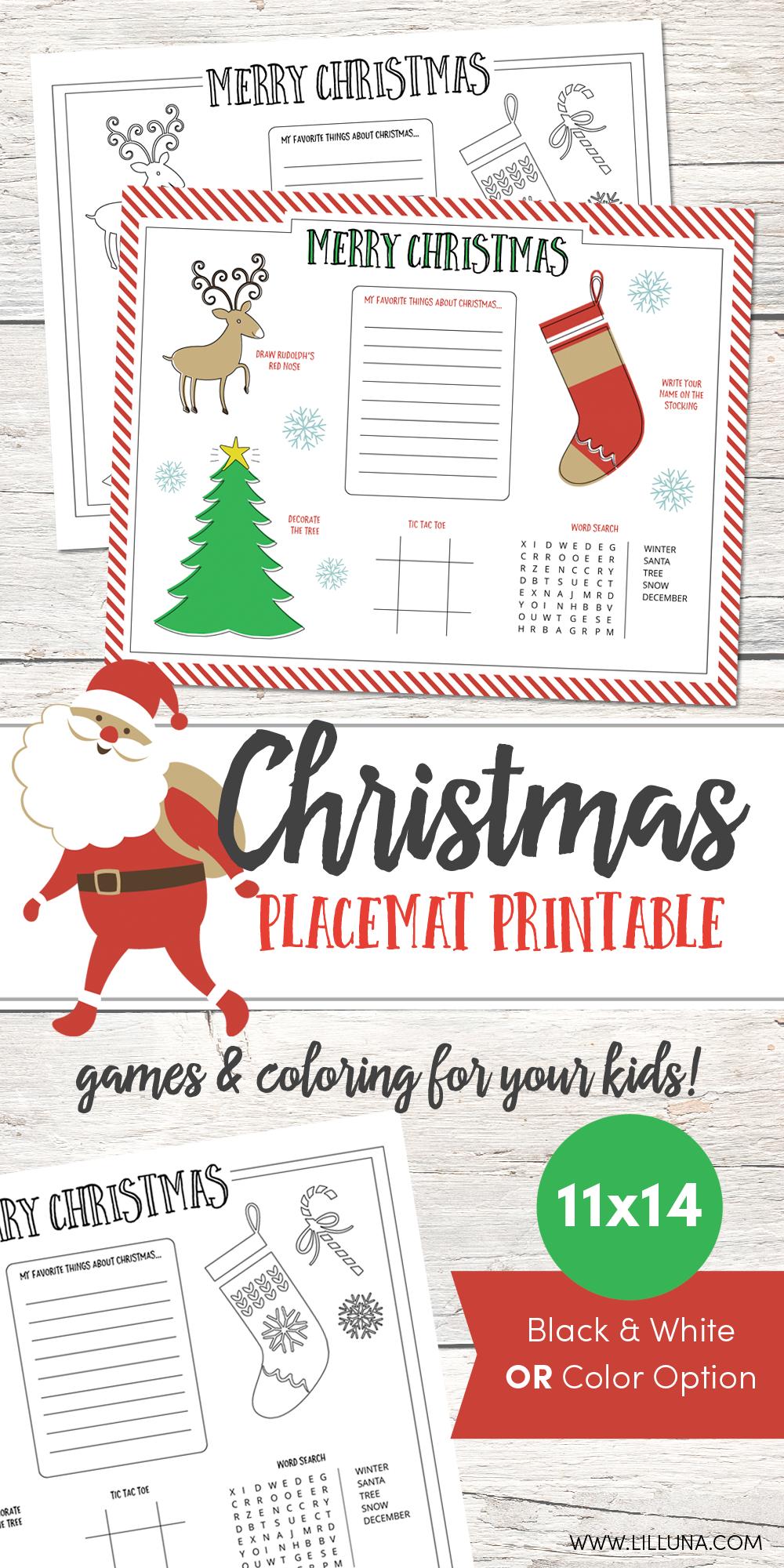 Christmas Placemat Printable - Lil' Luna - Free Printable Christmas Placemats For Adults