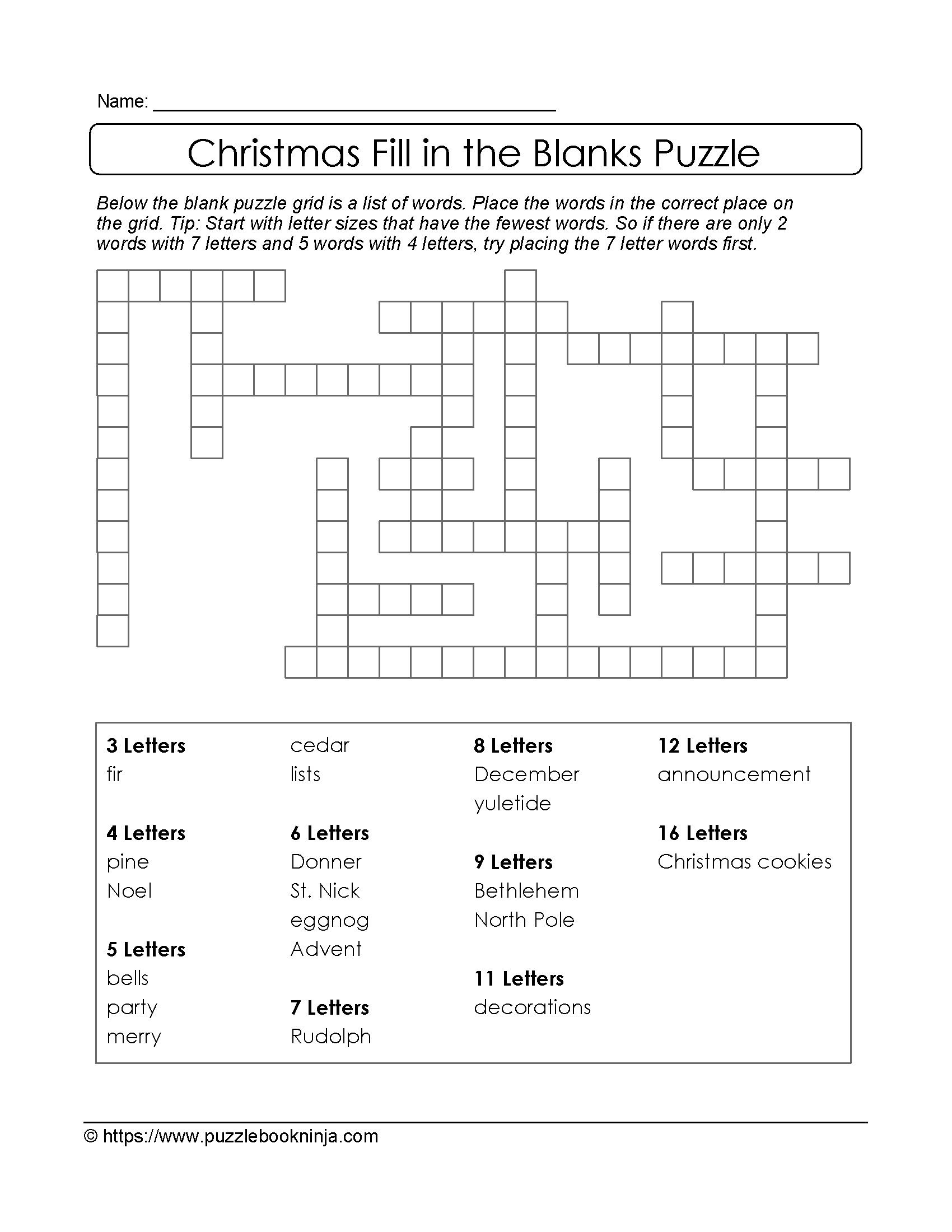 Christmas Printable Puzzle. Free Fill In The Blanks. | Christmas - Free Printable Fill In Puzzles