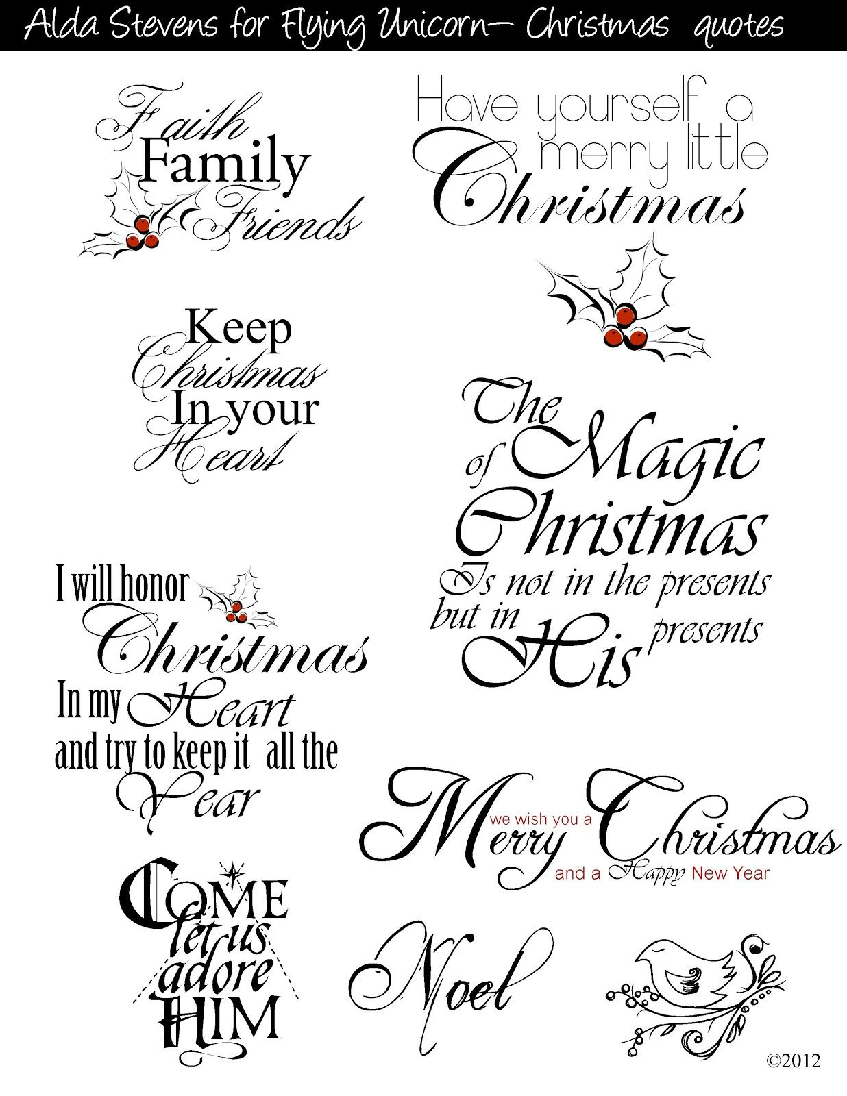 Christmas Sayings For Commercial And Personal Use   Christmas Decor - Free Printable Greeting Card Sentiments