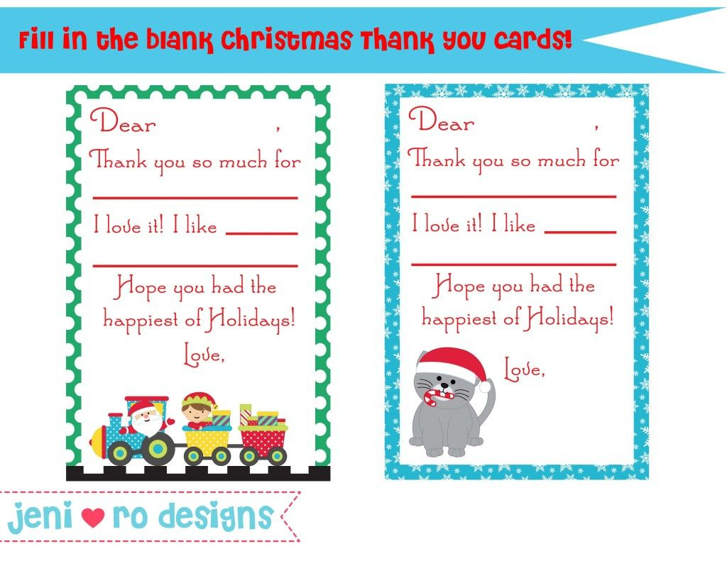 Christmas Thank You Card Printable - Free! Www.jenirodesigns - Christmas Thank You Cards Printable Free