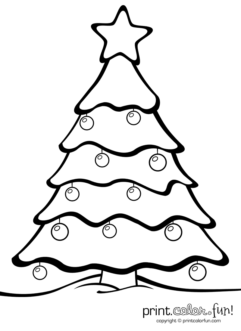 Christmas Tree With Ornaments | Print. Color. Fun! Free Printables - Free Printable Christmas Tree Ornaments Coloring Pages
