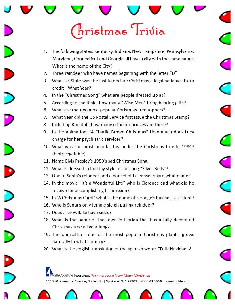 Christmas Trivia Game. Free Printable | Group Games | Pinterest - Free Printable Group Games