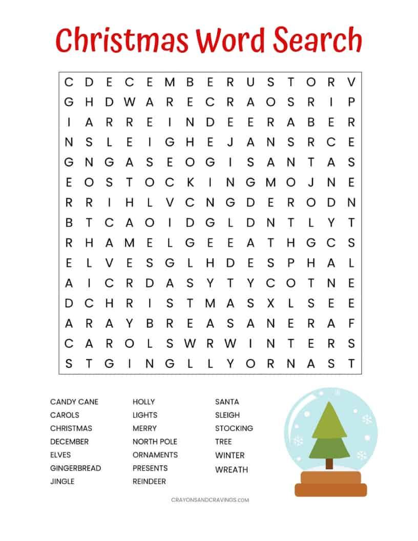 Christmas Word Search Free Printable For Kids Or Adults - Free Printable Christmas Word Search