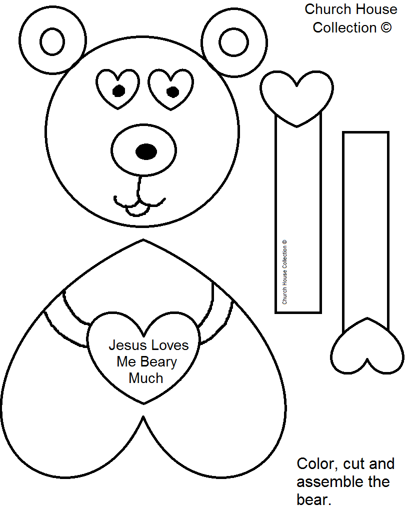"""Church House Collection Blog: """"jesus Loves Me Beary Much - Free Printable Bible Crafts"""