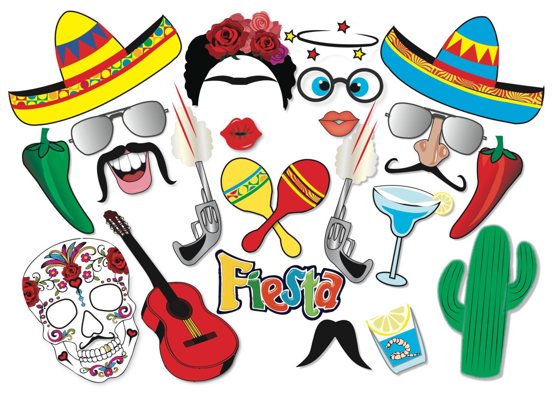 Cinco De Mayo Mexican Fiesta Party Photo Booth Props Set 22   Etsy - Free Printable Cinco De Mayo Photo Booth Props