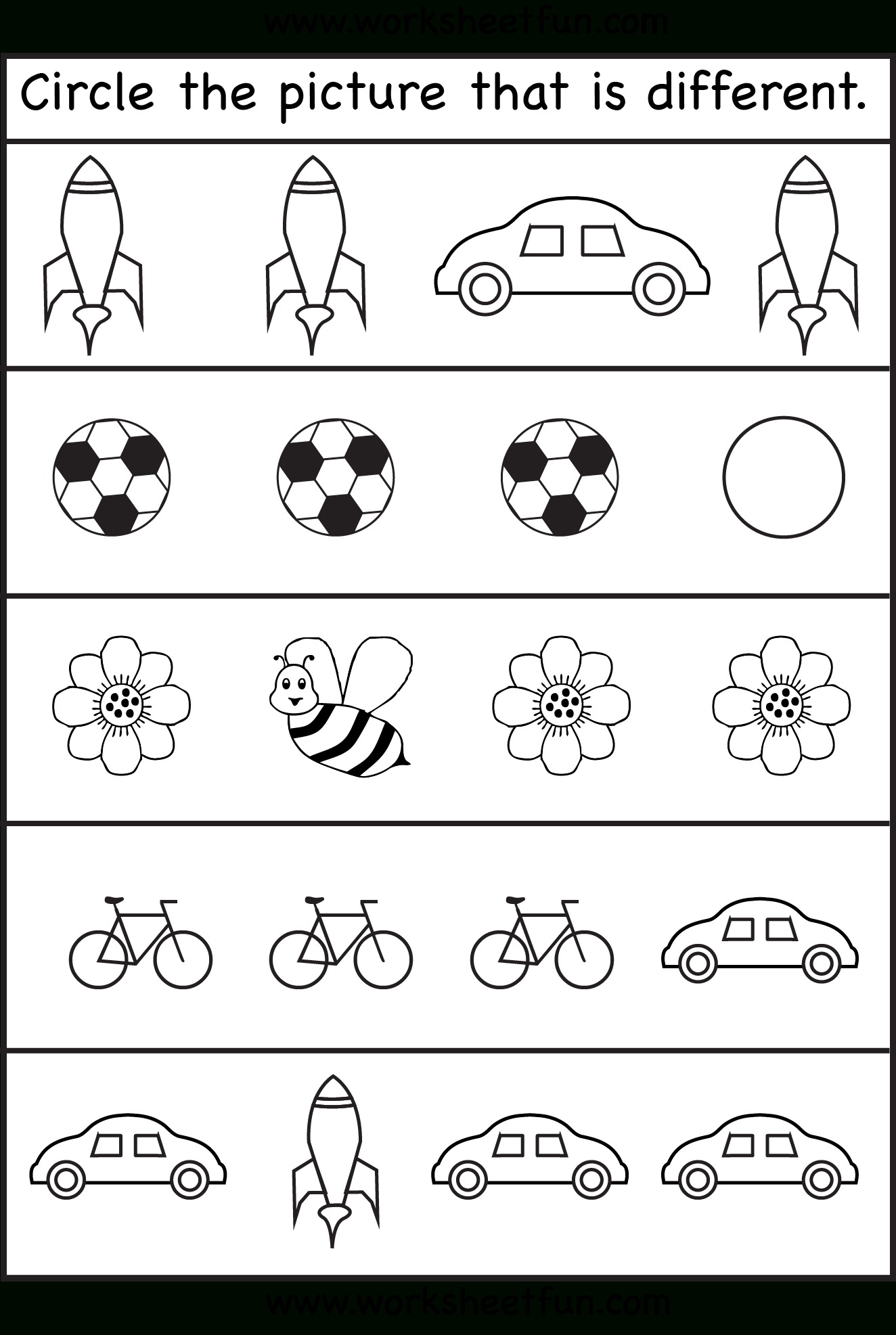 Circle The Picture That Is Different - 4 Worksheets | Preschool Work - Free Printable Toddler Learning Worksheets