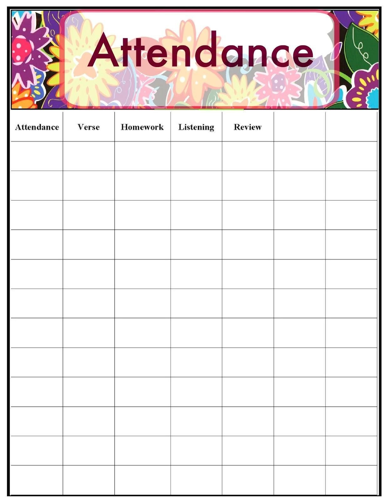 Classroom Attendance Sheets Bunch Ideas Of Printable  Free Chart - Free Printable Sunday School Attendance Sheet