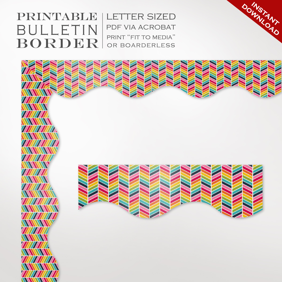 Classroom Bulletin Board Trim - Printable Rainbow Chevron Border - Free Printable Christmas Bulletin Board Borders