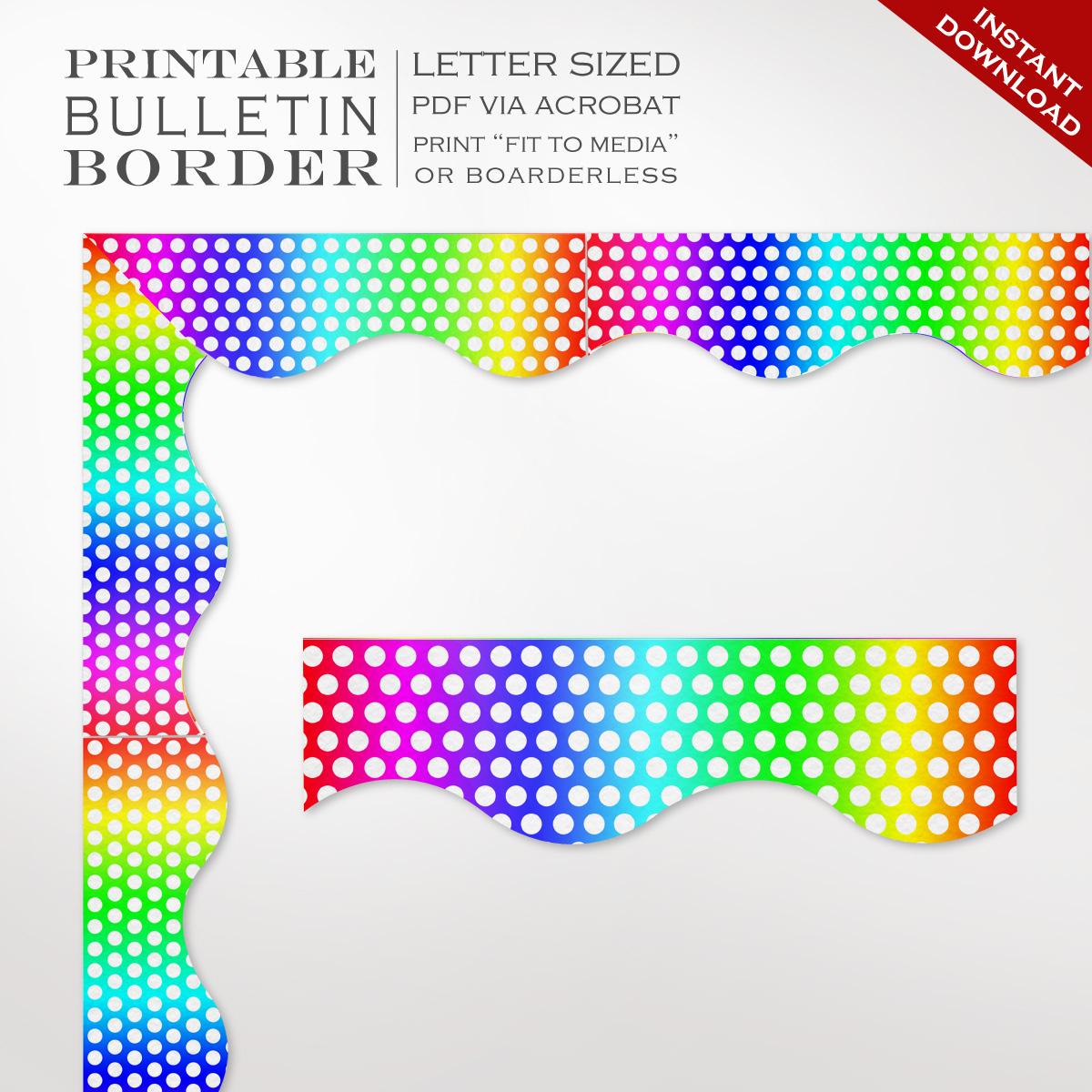 Classroom Bulletin Board Trim - Printable Rainbow Dots Border | Faire.li - Free Printable Christmas Bulletin Board Borders