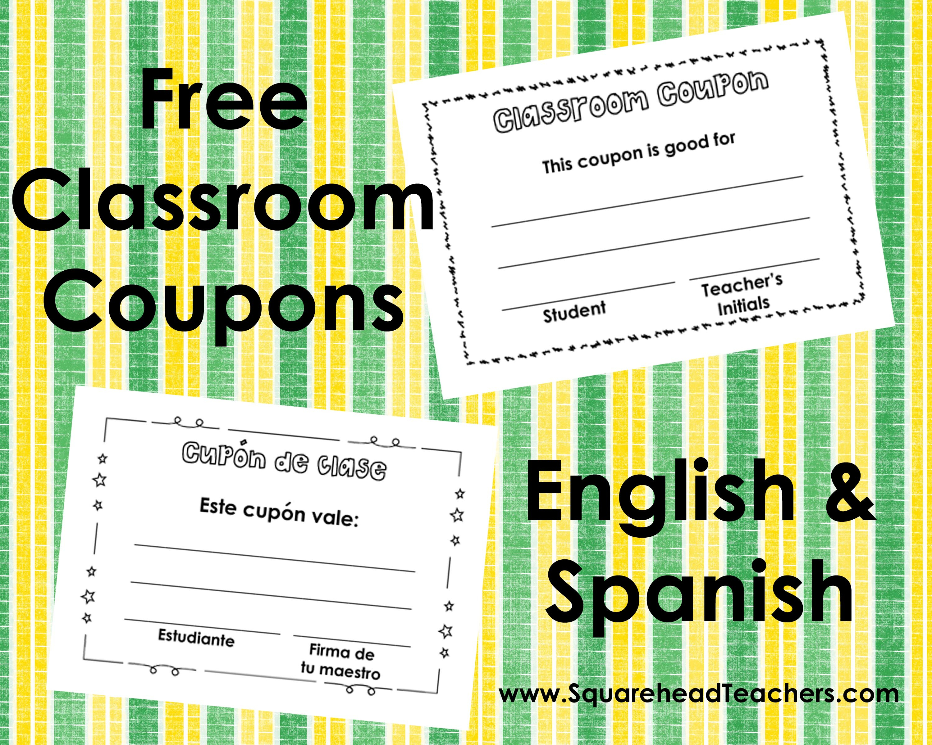 Classroom Coupons – English And Spanish | Squarehead Teachers - Free Printable Homework Pass Coupon