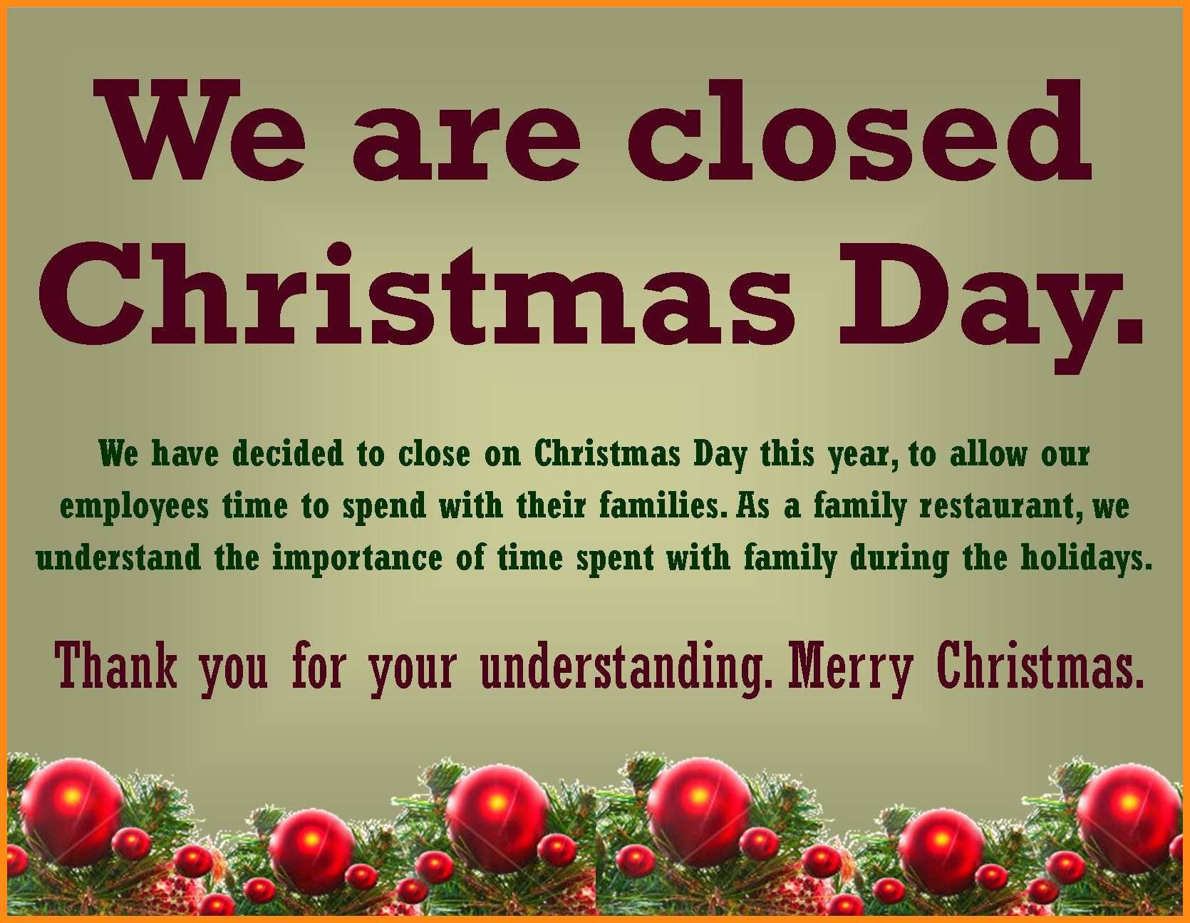Closed For Holidays Sign - Rehau.hauteboxx.co - Free Printable Holiday Closed Signs