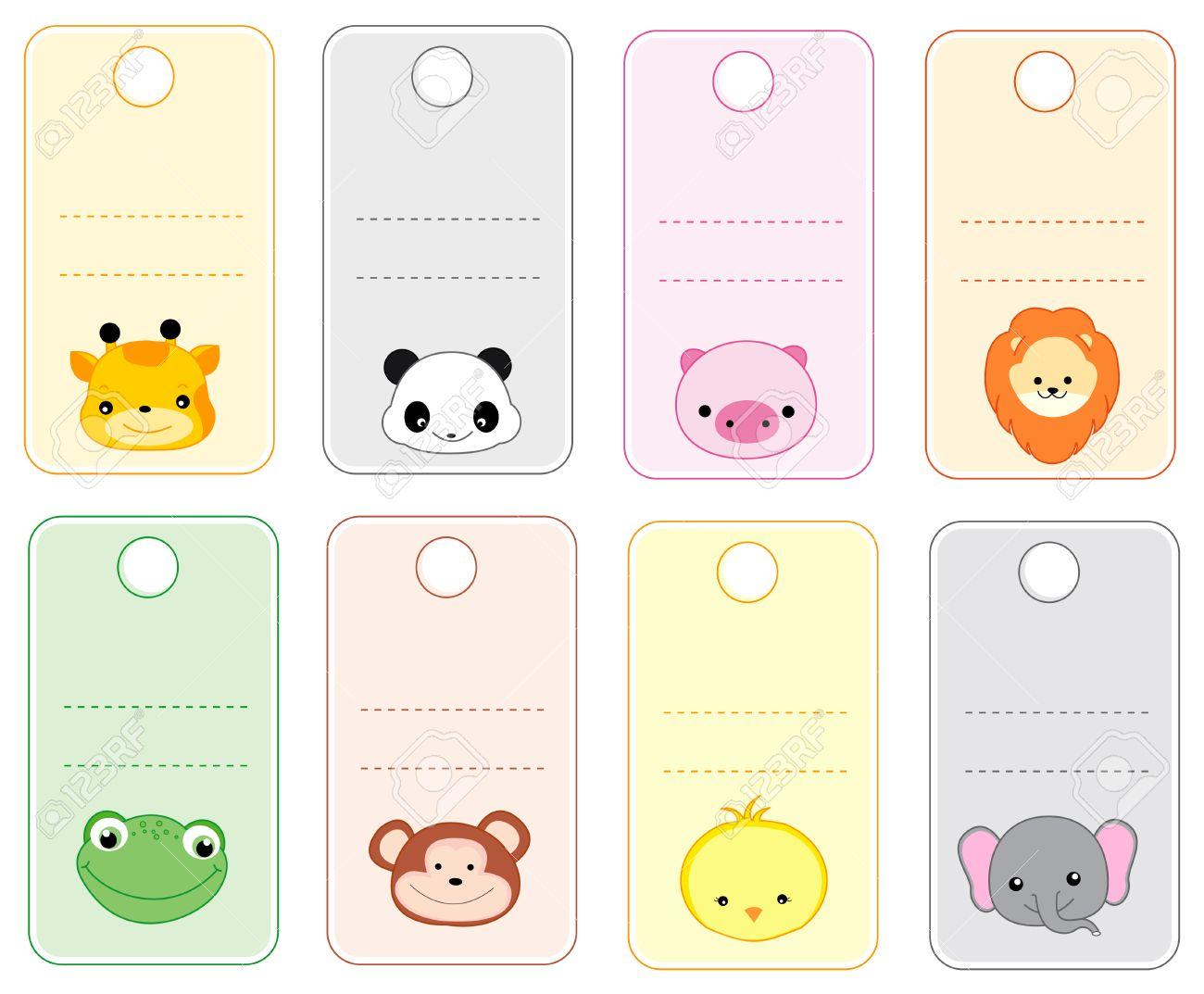 Colorful Printable Gift Tags / Name Tags With Cute Animal Faces - Free Printable Gift Name Tags
