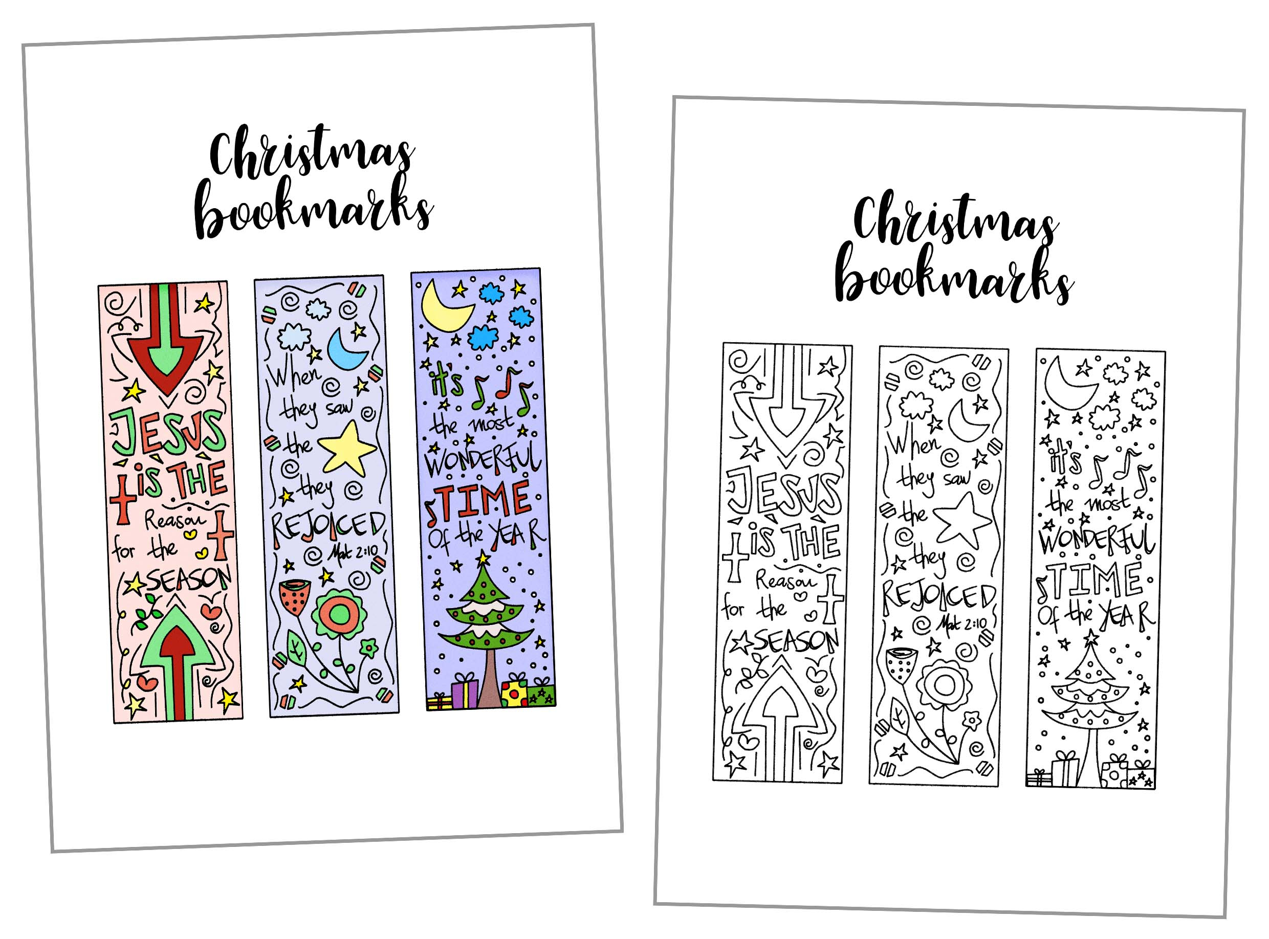 Coloring Christmas Bookmarks Free Printable ~ Daydream Into Reality - Free Printable Christmas Bookmarks To Color