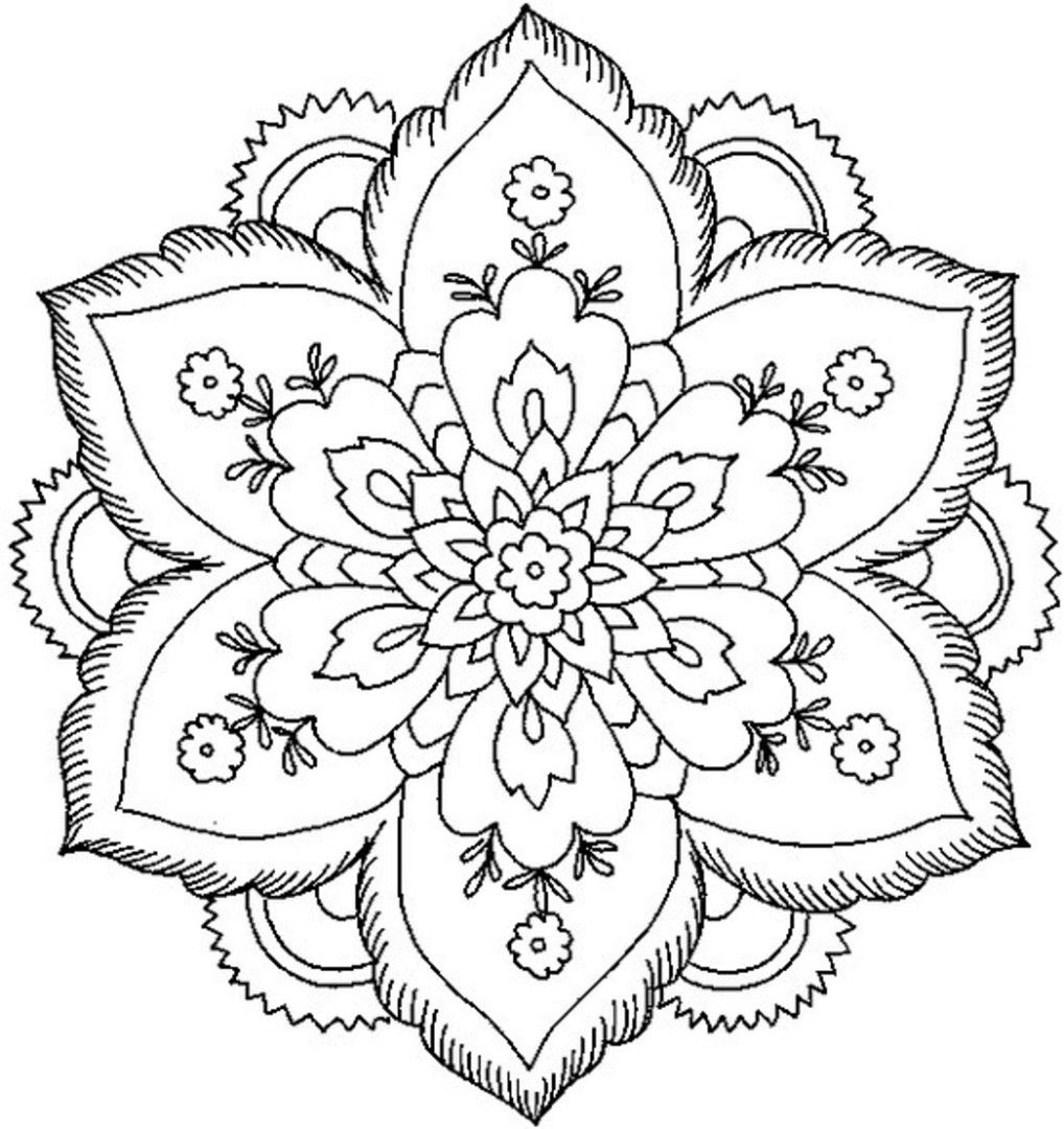 Coloring Pages : Flower Coloring Pages Mandala Great Free Clipart - Free Printable Flower Coloring Pages For Adults