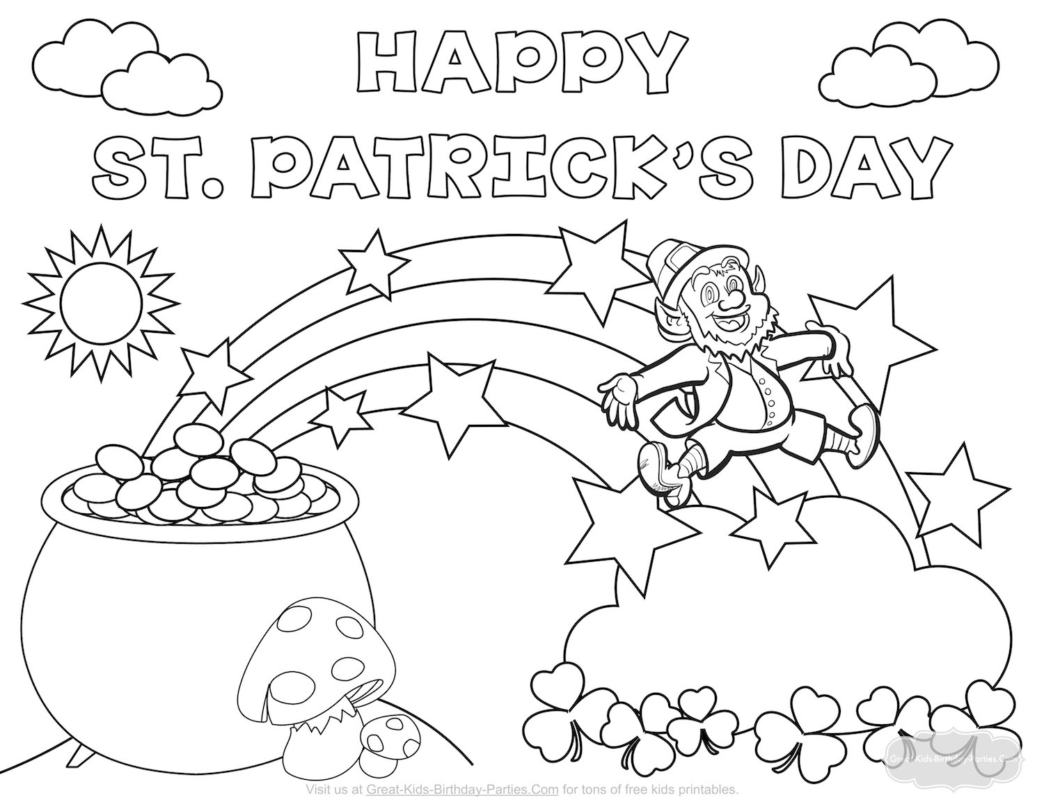 Coloring Pages : Free Coloring Sheets For Kids St Patricks Day - Free Printable Saint Patrick Coloring Pages