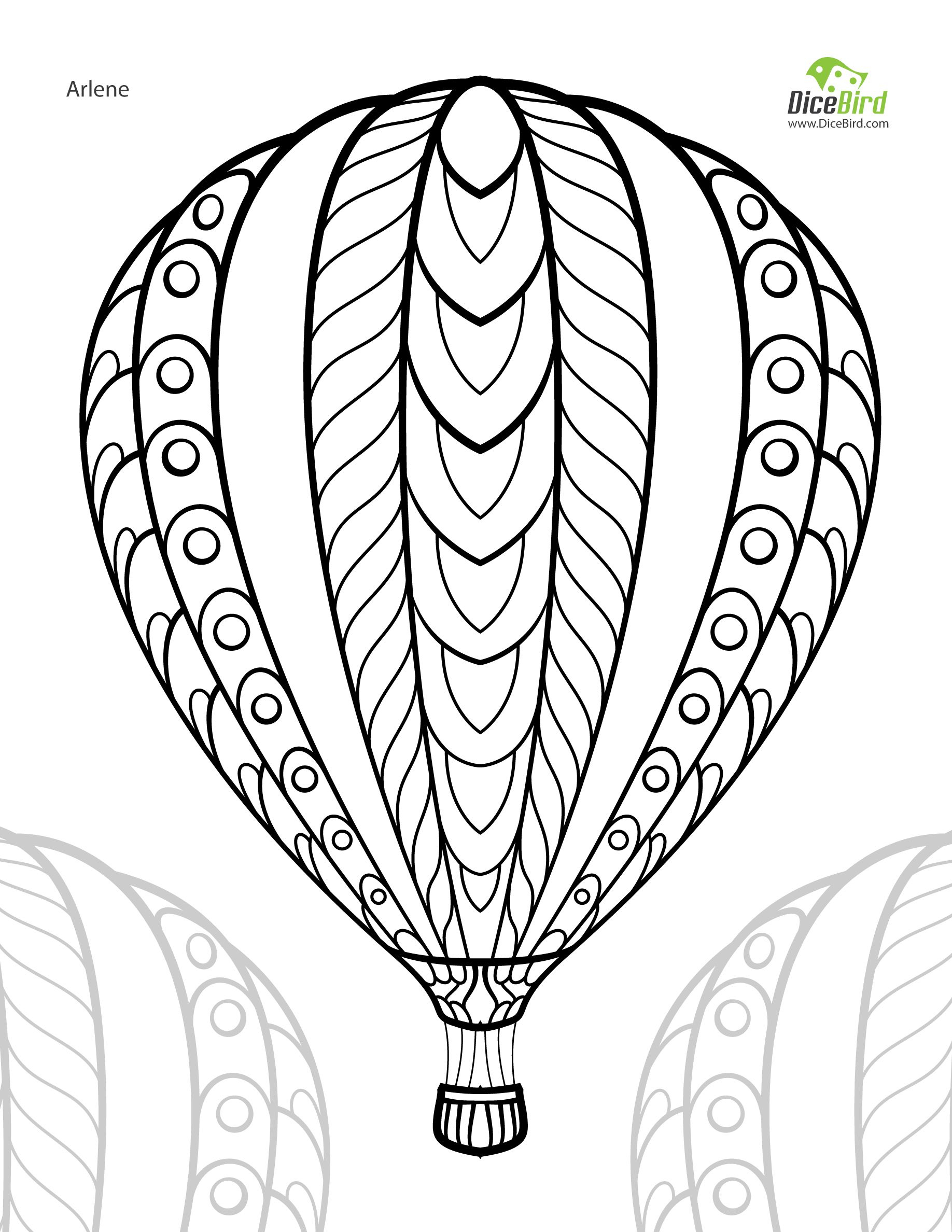 Coloring Pages : Hot Air Balloon Adult Free Printable Colouring Page - Free Printable Pictures Of Balloons