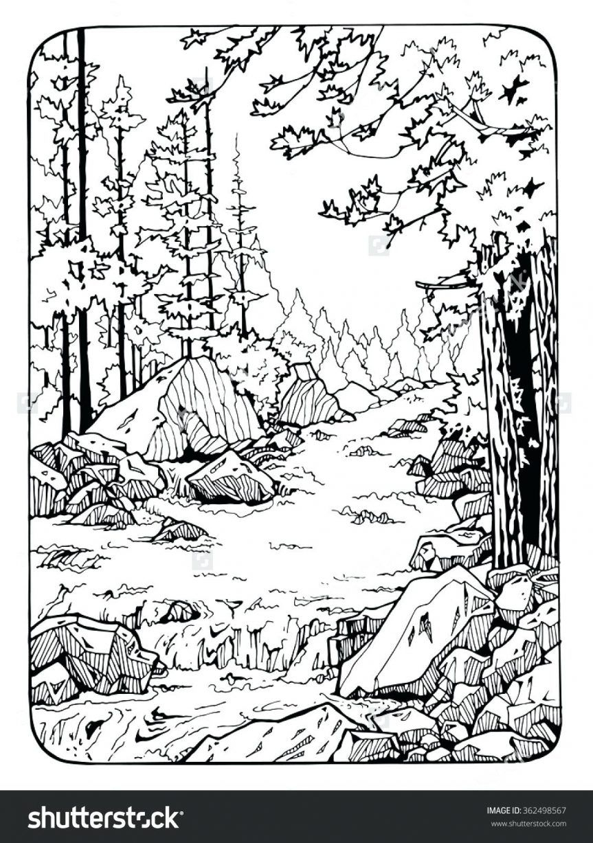 Coloring Pages: River Scene Coloring Page Nature Pages Tree With - Free Printable Waterfall Coloring Pages