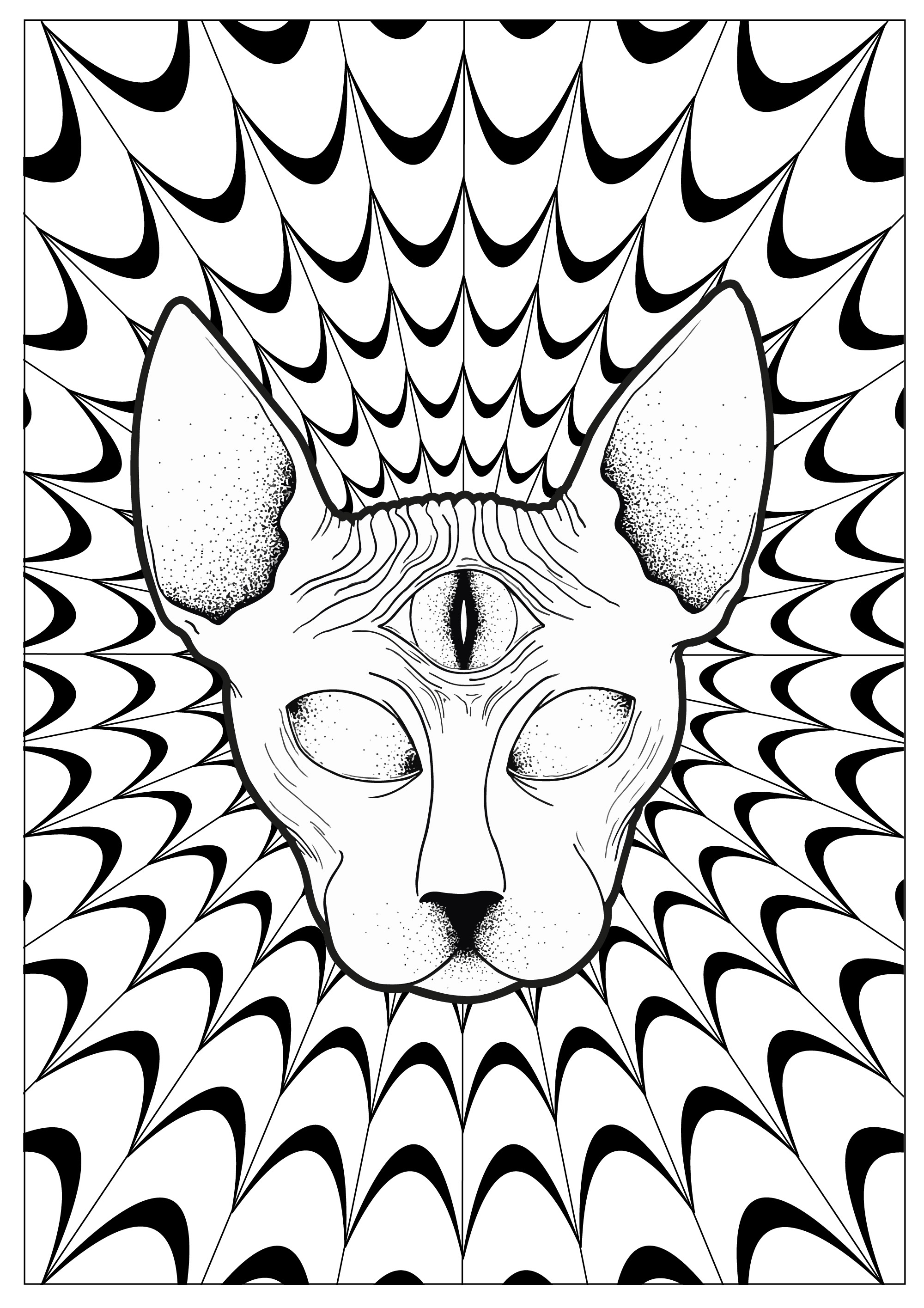 Coloring Pages : Trippy Coloring Pages Cat Psychedelic Sphynx - Free Printable Trippy Coloring Pages