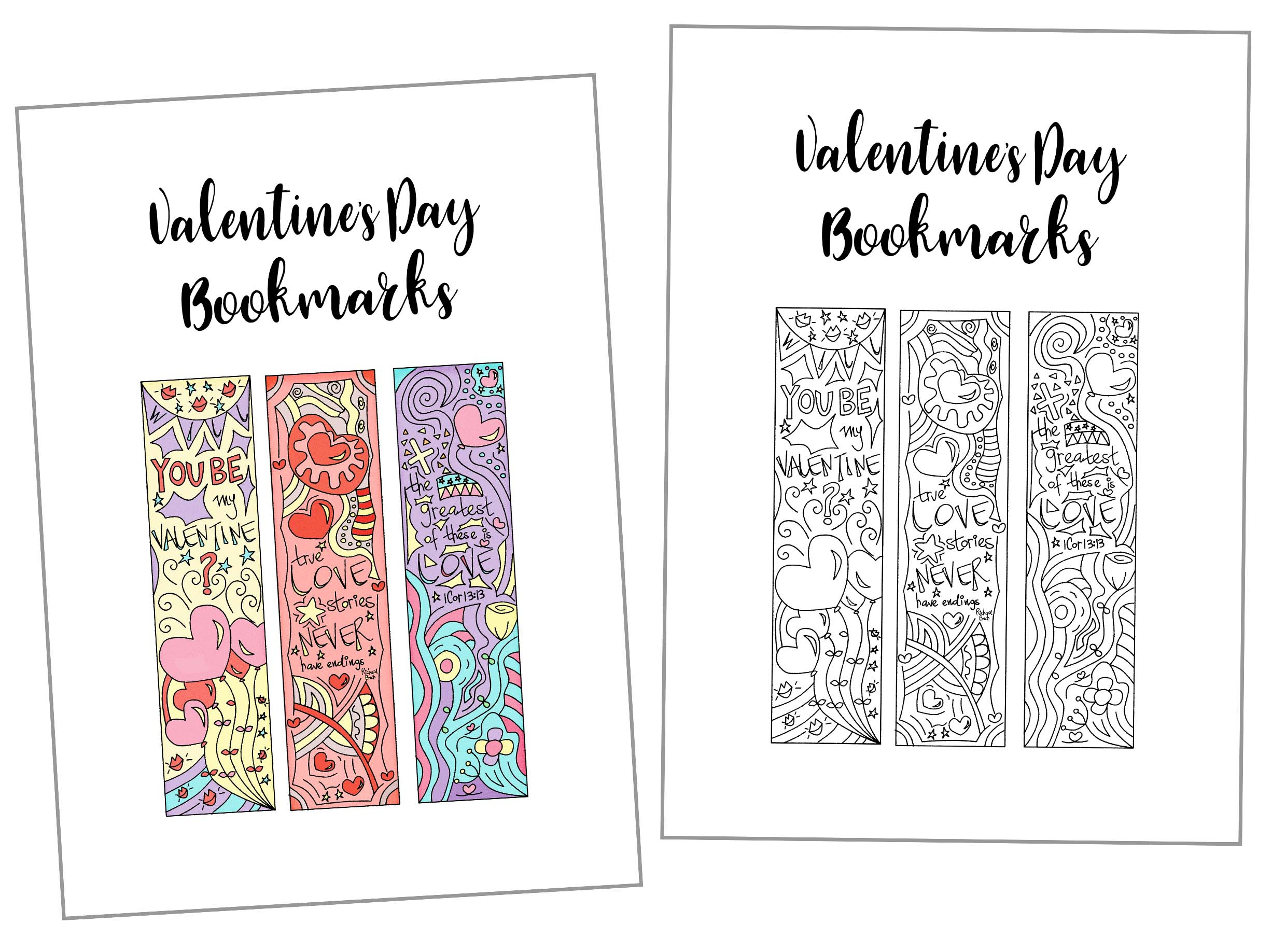 Coloring Valentine's Day Bookmarks Free Printable ~ Daydream Into - Free Printable Bookmarks For Libraries