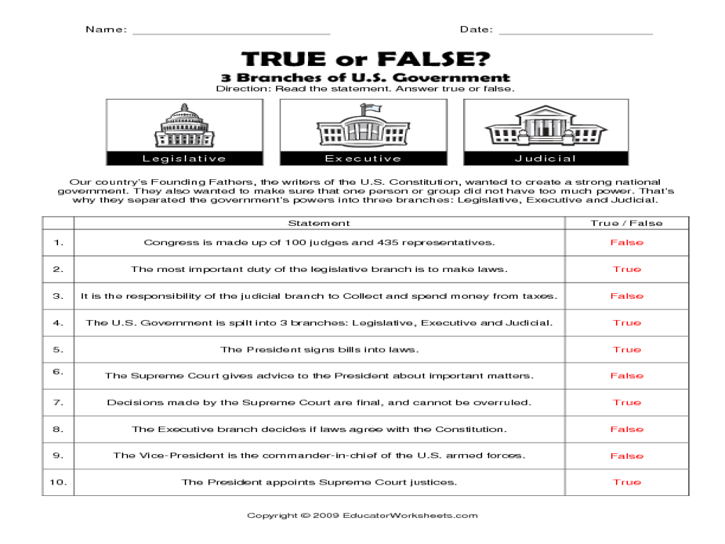 Constitution Worksheets Free 3 Branches Government Worksheet - Free Printable Us Constitution Worksheets