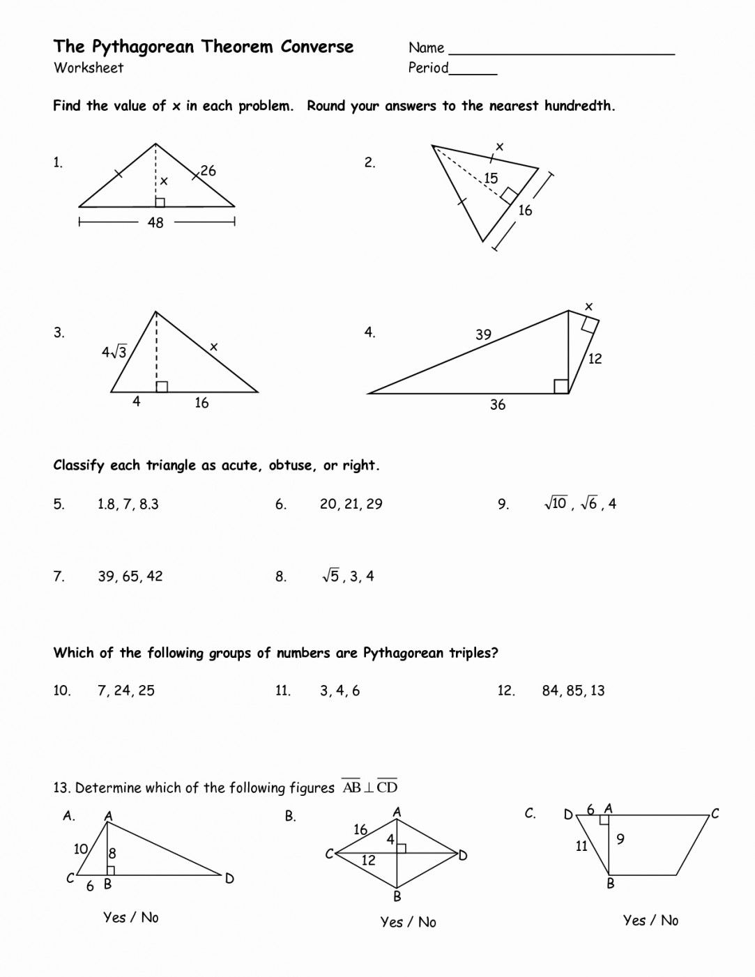 Converse Of The Pythagorean Theorem Worksheet | Lostranquillos - Free Printable Pythagorean Theorem Worksheets