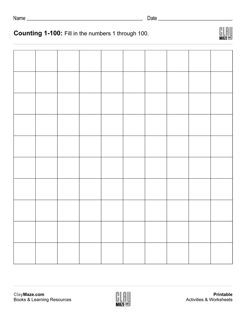 Counting Chart 1 To 100 (Blank) | Free Printable Children's - Free Printable Number Worksheets 1 100