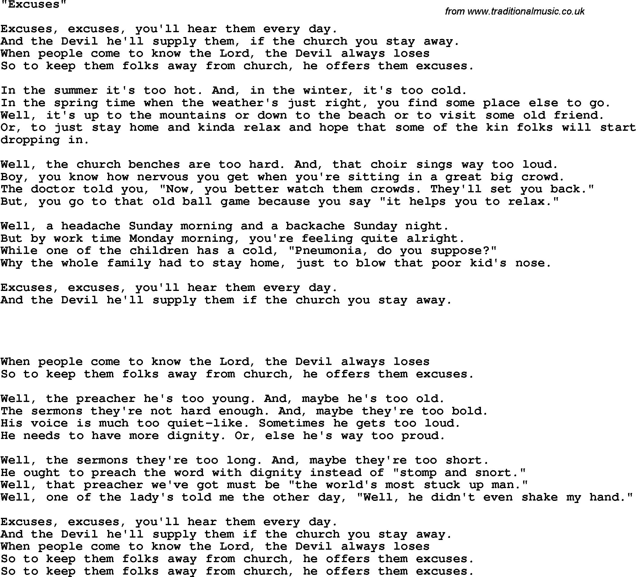 Country, Southern And Bluegrass Gospel Song Excuses Lyrics - Free Printable Gospel Music Lyrics