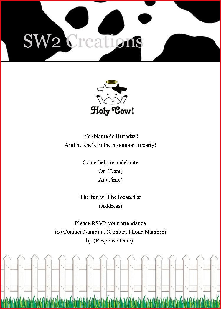 Cow Birthday Party Invitations - Hashtag Bg - Free Printable Cow Birthday Invitations
