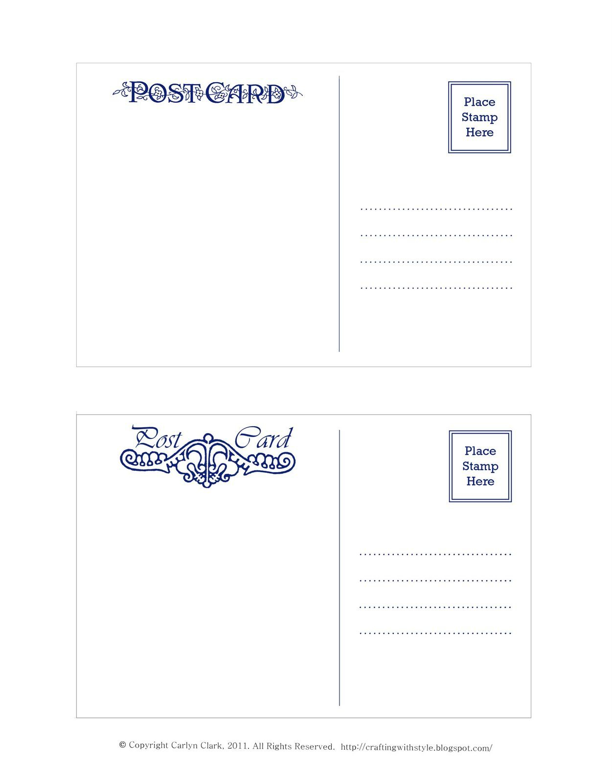 Crafting With Style: Free Postcard Templates | Postcards | Pinterest - Free Blank Printable Postcards