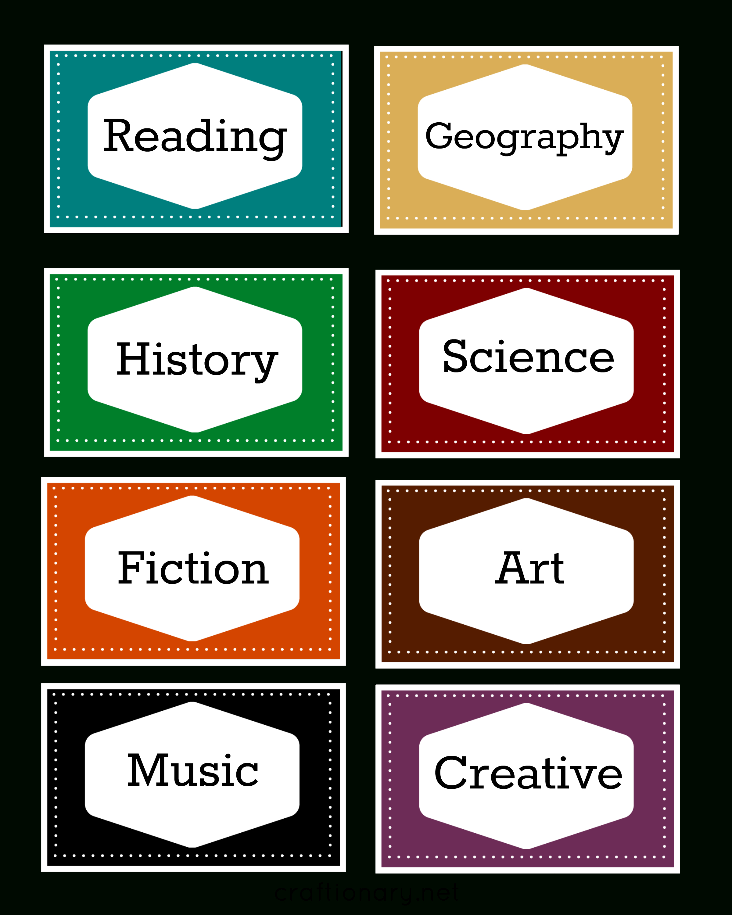 Craftionary - Free Printable Book Bin Labels