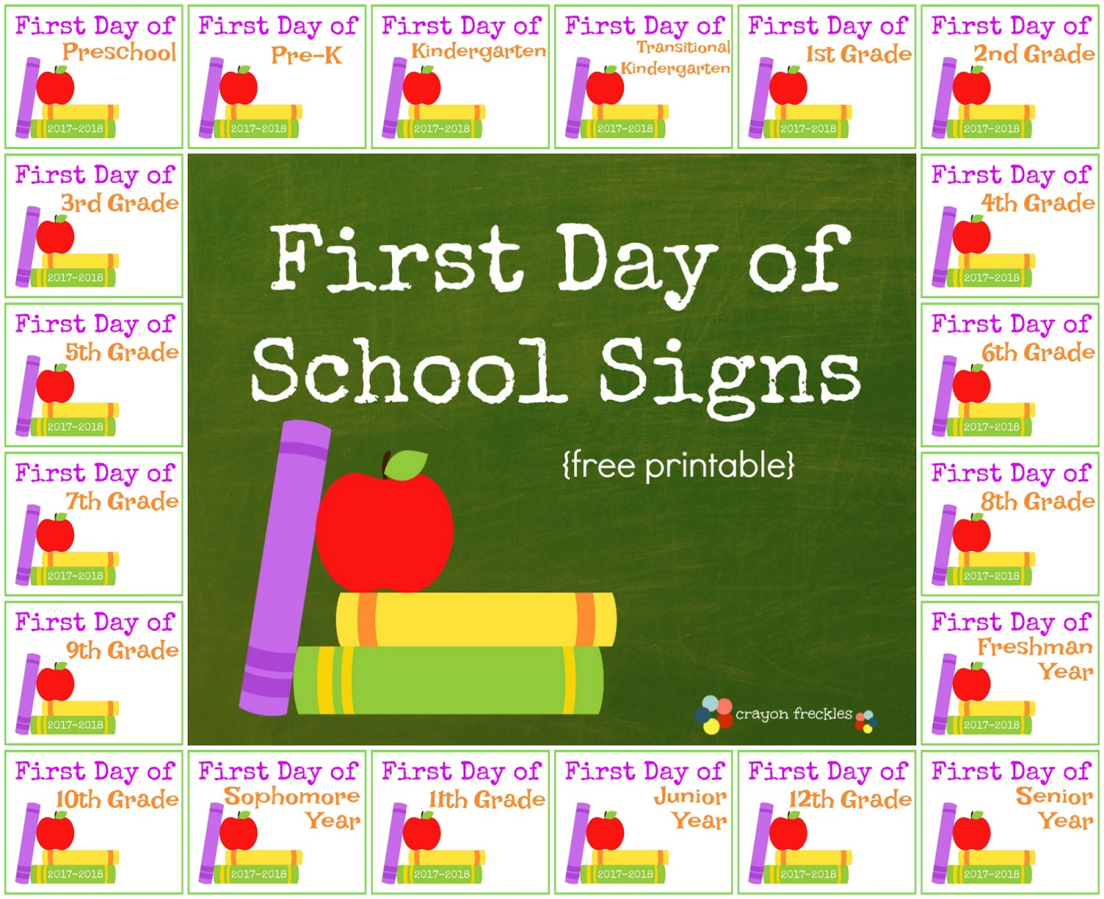 Crayon Freckles: First Day Of School Signs For Kids {Free Printable} - Free Printable First Day Of School Signs 2017