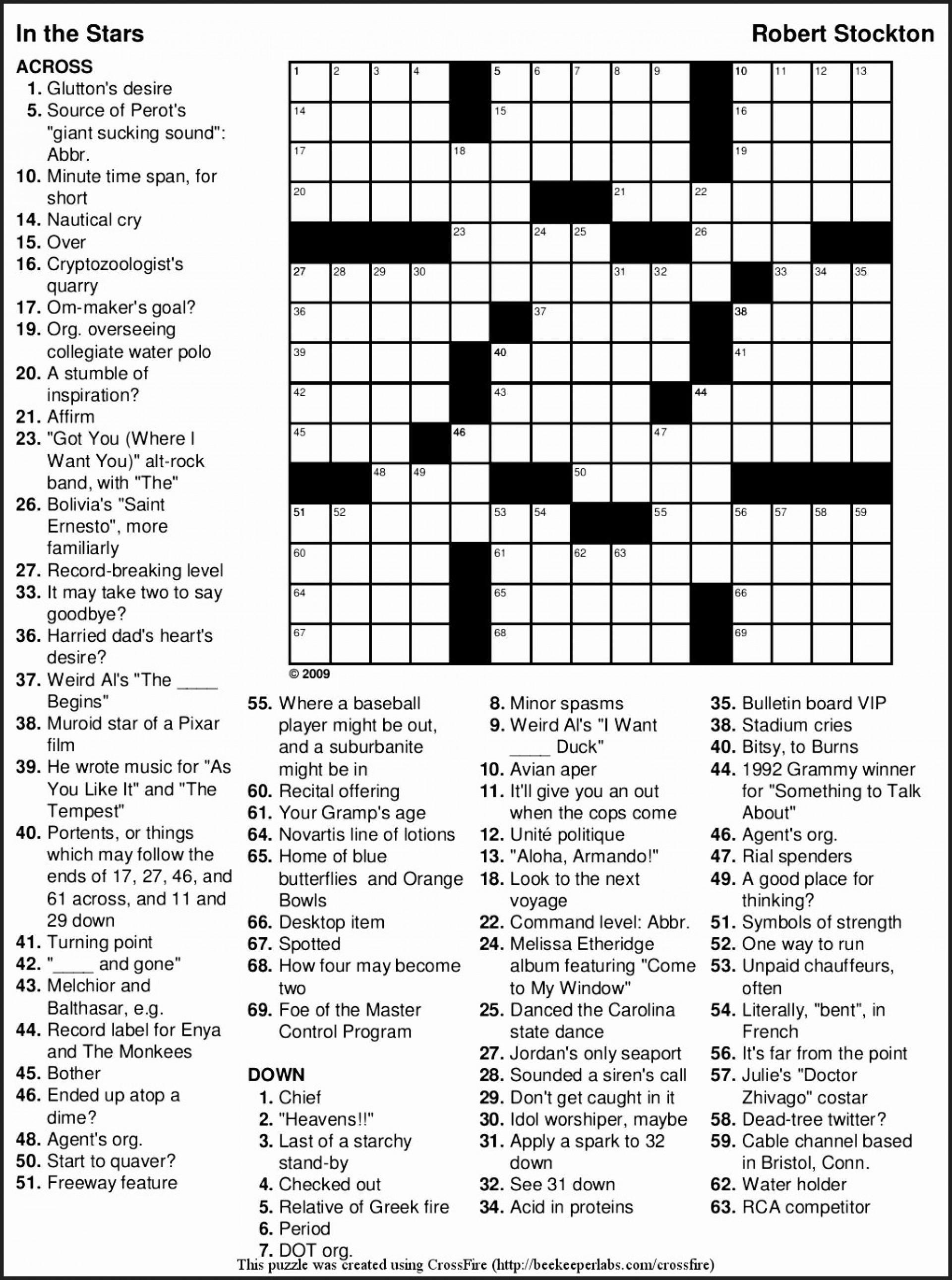 Crossword Puzzles Printable Large Crosswords ~ Themarketonholly - Free Printable Large Print Crossword Puzzles