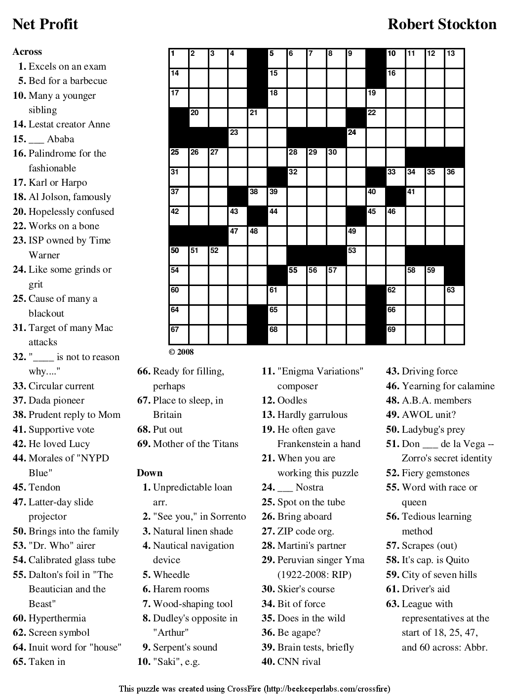Crosswords Crossword Maker Puzzle Free Netprofit ~ Themarketonholly - Crossword Maker Free Printable