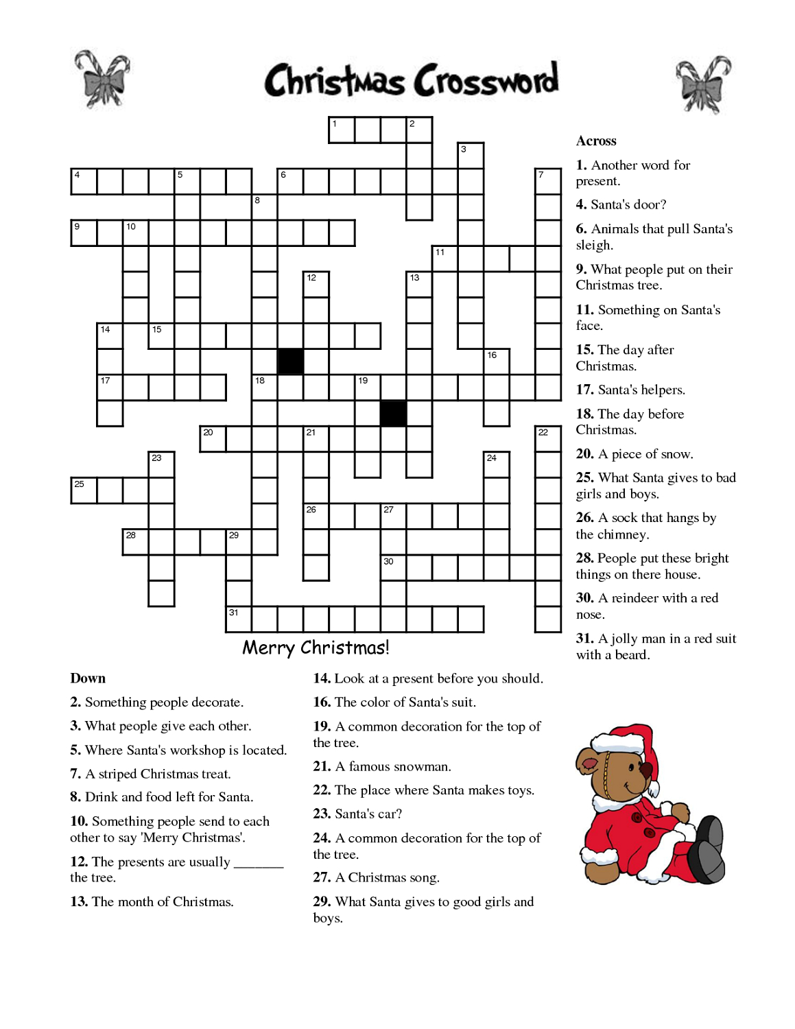Crosswords For Kids Christmas   K5 Worksheets   Christmas Activity - Free Printable Christmas Puzzle Sheets