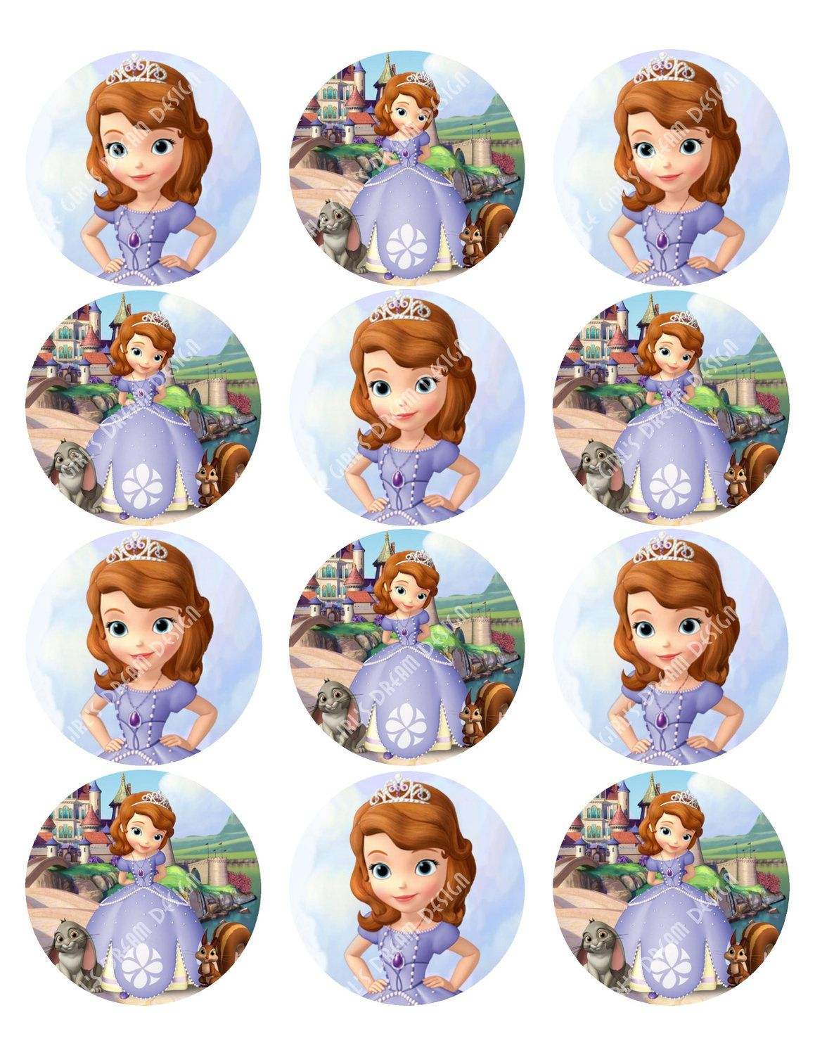 Cupcake Toppers Princess Sofia The First Inspired Round Disney - Free Printable Sofia Cupcake Toppers