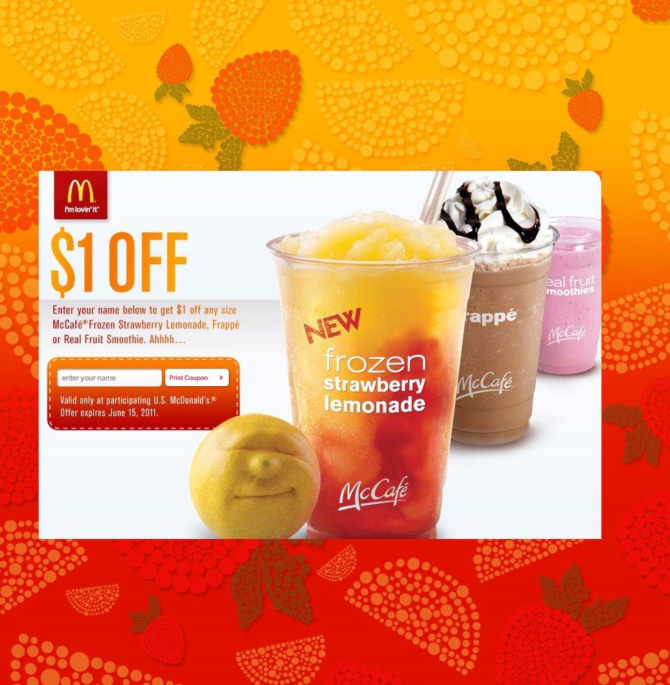 Cuppycake's Coupon Corner: Mcdonald's $1 Off A Mccafé Frozen - Free Mcdonalds Smoothie Printable Coupon