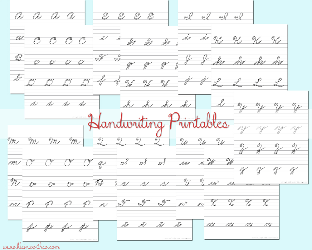 Cursive Handwriting Practice Sheets #backtoschoolweek - Kleinworth & Co - Free Printable Worksheets Handwriting Practice