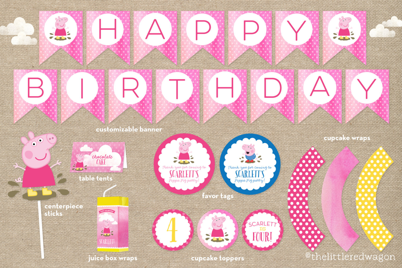 Custom Peppa Pig Birthday Party Printables / Banner / Cupcake | Etsy - Peppa Pig Birthday Banner Printable Free