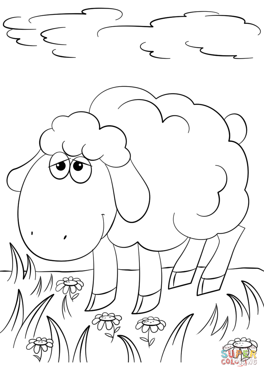 Cute Cartoon Lamb Coloring Page | Free Printable Coloring Pages - Free Printable Pictures Of Sheep