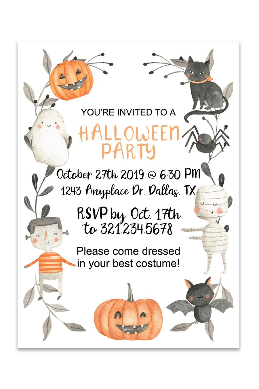 Cute Halloween Printable Invitation   Free Printables   Pinterest - Free Online Halloween Invitations Printable
